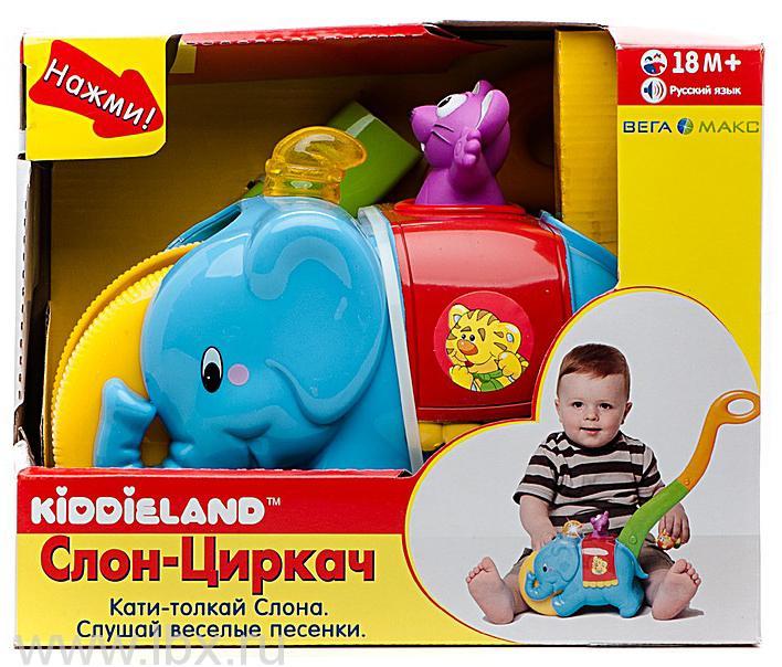 Игровая каталка с ручкой `Слон-циркач`, Kiddieland (Киддилэнд)