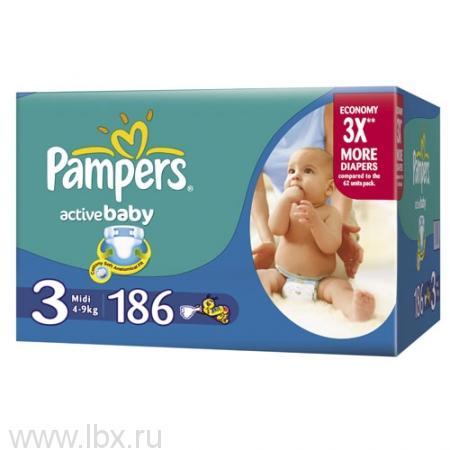 Подгузники Pampers 4-9 кг (Памперс) Active Baby Midi