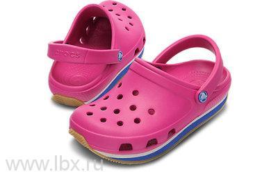 Сабо (Retro Clog Kids Fuchsia) Ретро Клог Кидс Фуксия/Си Блю, Crocs (Крокс)