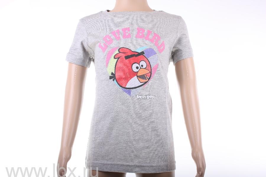 Футболка для девочки `Love bird`, Angry Birds- увеличить фото