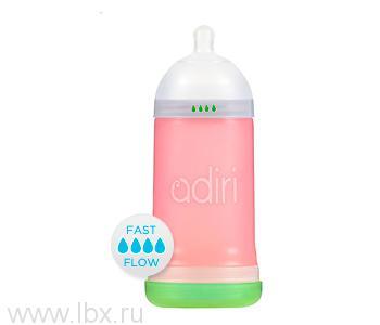 Детская бутылочка Adiri (Адири) NxGen Fast Flow Pink, от 9 мес., 281 мл.
