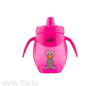 Детский поильник-непроливайка Adiri (Адири) Penguin Trainer Pink, 250 мл.