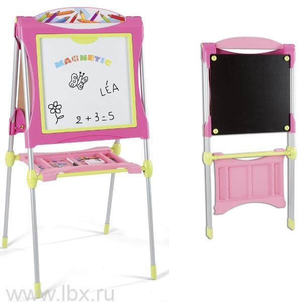 Двухсторонний розовый мольберт Smoby (Смоби)