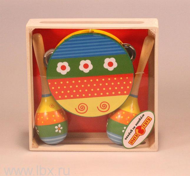 Игрушка деревянная - Бубен маракасы, Папа Карло