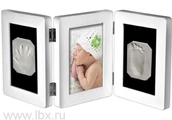 Рамочка «Лайт» тройная складная настольная со стеклом Белая, Ручки&Ножки