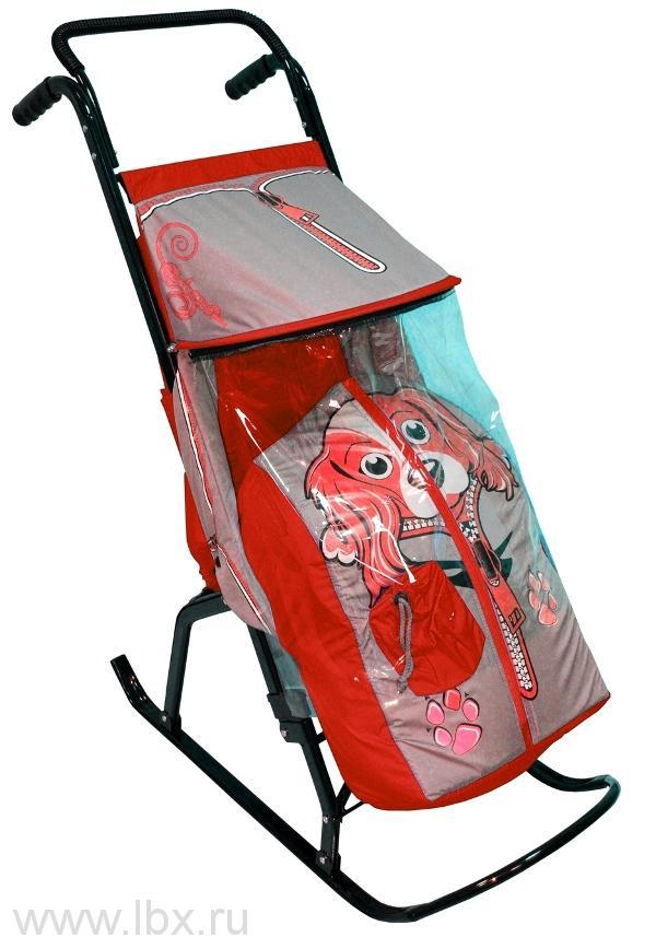 Санки-коляска `Снегурочка-2-Р` Собачка, цвет серый-красный, RT(РТ)