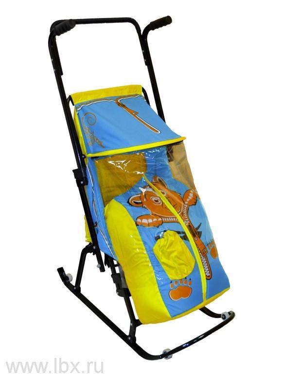 Санки-коляска `Снегурочка-42-Р` Медвежонок, цвет желтый-голубой, RT(РТ)