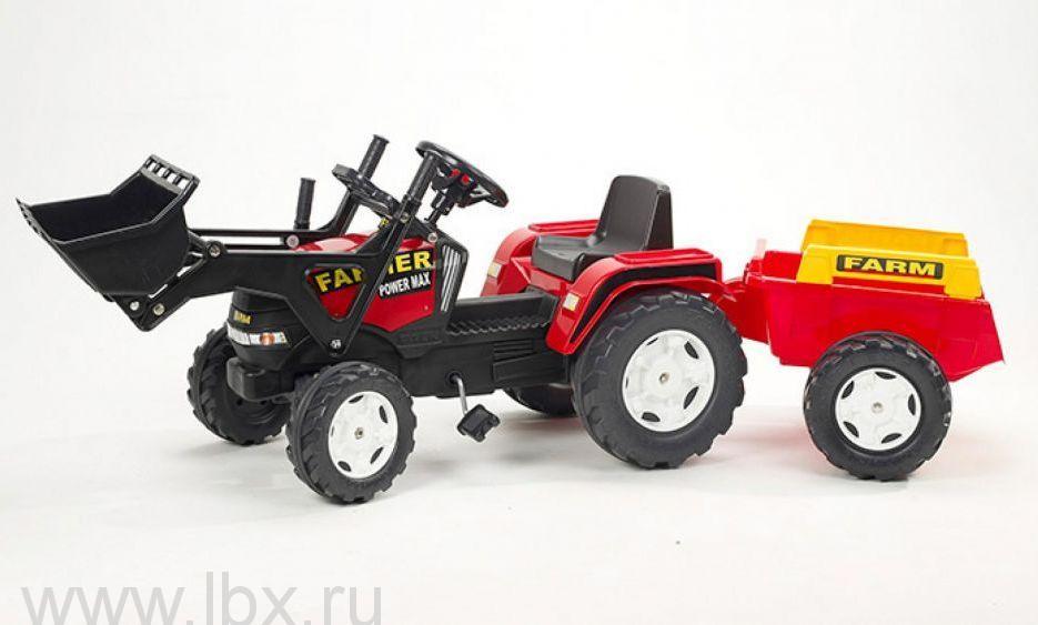 Трактор-экскаватор педальный с прицепом, Falk (Фолк)