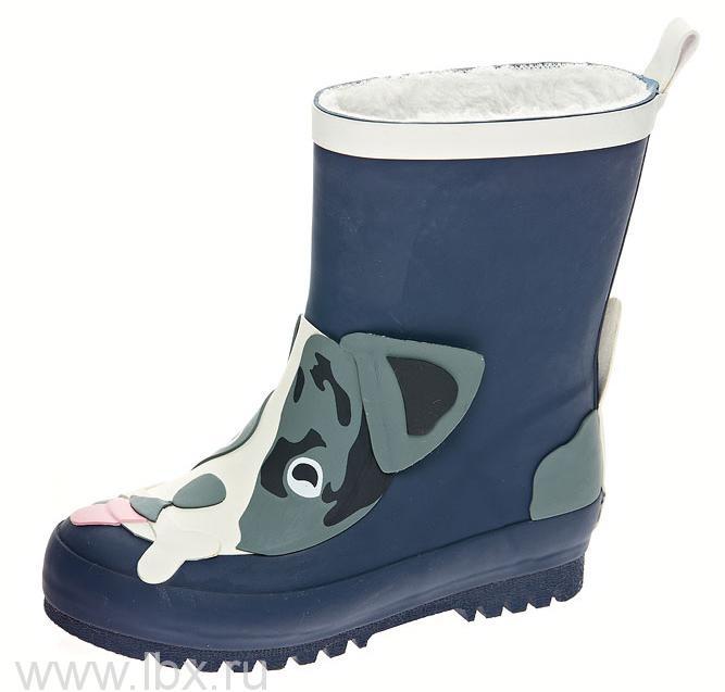 Сапожки резиновые `Собачка` искусственный мех, Mursu (Мурсу) синие