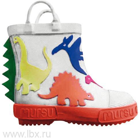 Резиновые сапожки `Динозаврики` искусственный мех, Mursu (Мурсу) белые