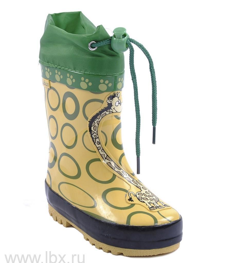 Сапожки резиновые `Жираф` искусственный мех, Kiddico (Киддико) желтые