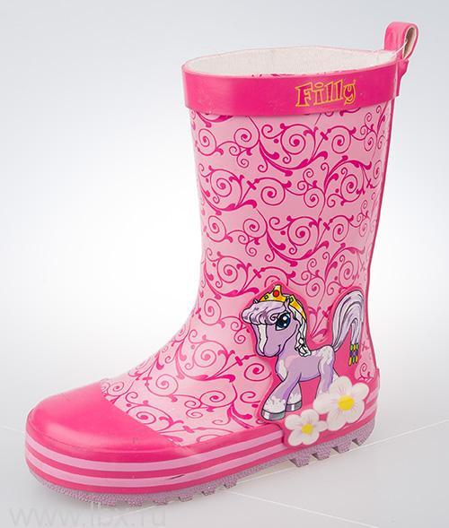 Резиновые сапоги детские Filly (Филли), розовые- увеличить фото