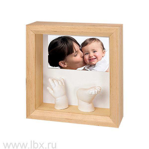 Рамочка с объемными слепками и фото, Baby Art (Бэби Арт), деревянная