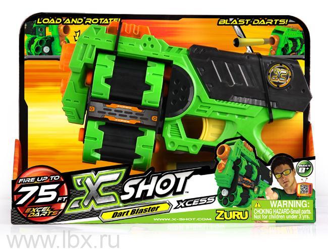 Мультизарядный Бластер `2 Барабана`, стрельба дисками и стрелами X-SHOT (Икс-Шот)