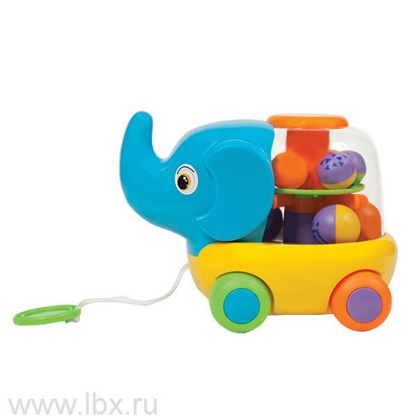 Игрушка-каталка `Слоник` с веревкой, Умка