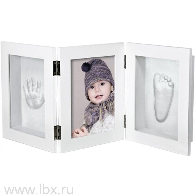 Рамочка «3D» тройная складная (белая) Ручки&Ножки (Ruchki&Nozhki)