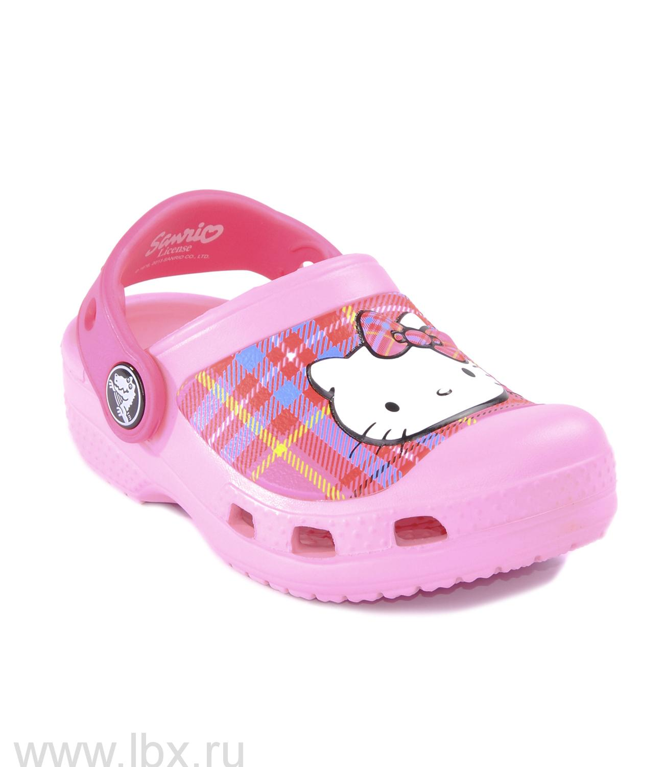 Сабо (Hello Kitty Plaid Clog Carnation/Neon Magenta) Хелло Китти Плейд Клог EU Карнейшн/Неон Магента, Crocs (Крокс)- увеличить фото