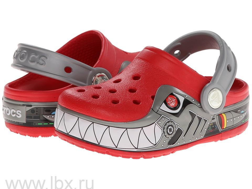 Сабо (CrocsLights Robo Shark Clog Red/Silver) Лайтс РобоШарк Клог Рэд/Силвер, Crocs (Крокс)