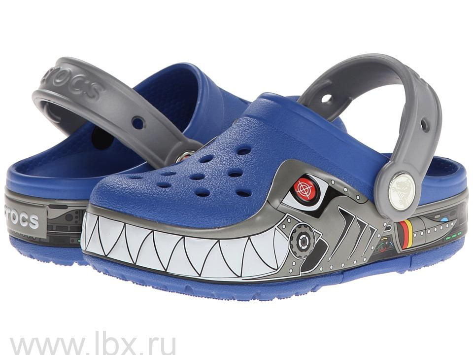 Сабо (CrocsLights Robo Shark Clog Sea Blue/Silver) Лайтс РобоШарк Клог Си Блю/Силвер, Crocs (Крокс)