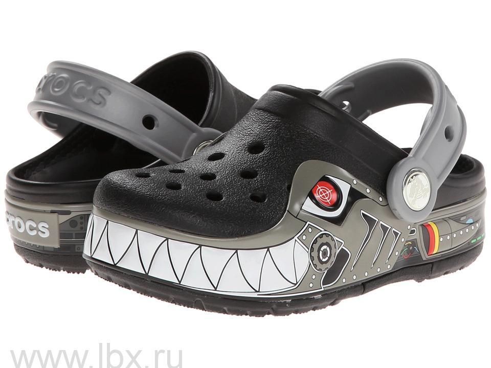 Сабо (CrocsLights Robo Shark Clog Black/Silver) Крокс Лайтс РобоШарк Клог Блэк/Силвер, Crocs (Крокс)