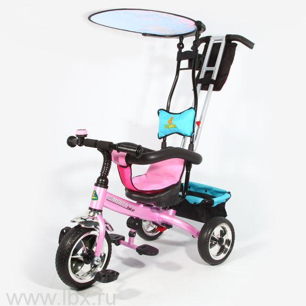 Велосипед трехколесный с ручкой, Bonna SmartBike (Бонна) розовый, фототопринт `Океан`