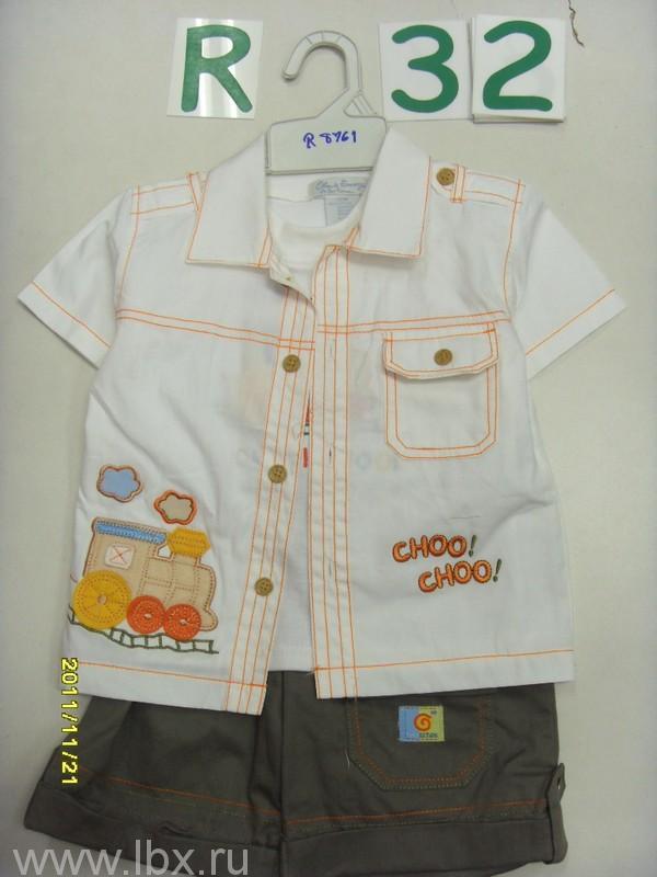 Комплект `Паровозик` (майка, рубашка, шорты) Олдос