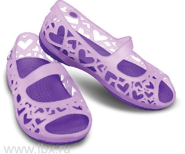 Туфли Адрина Хартс Флэт (Adrina Hearts Flat) Айрис/Неон Перпл, Crocs (Крокс)