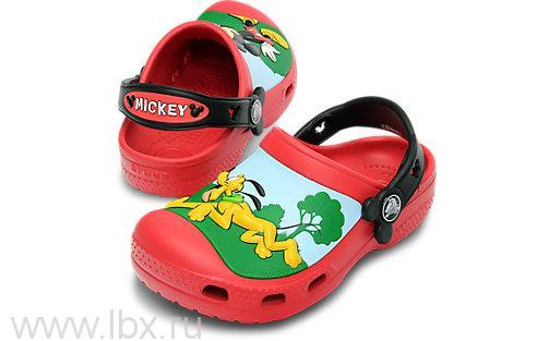 Сабо Микки Вайтслес Клог (Mickey Whistles Clog Kids) Рэд/Блэк, Crocs (Крокс)- увеличить фото