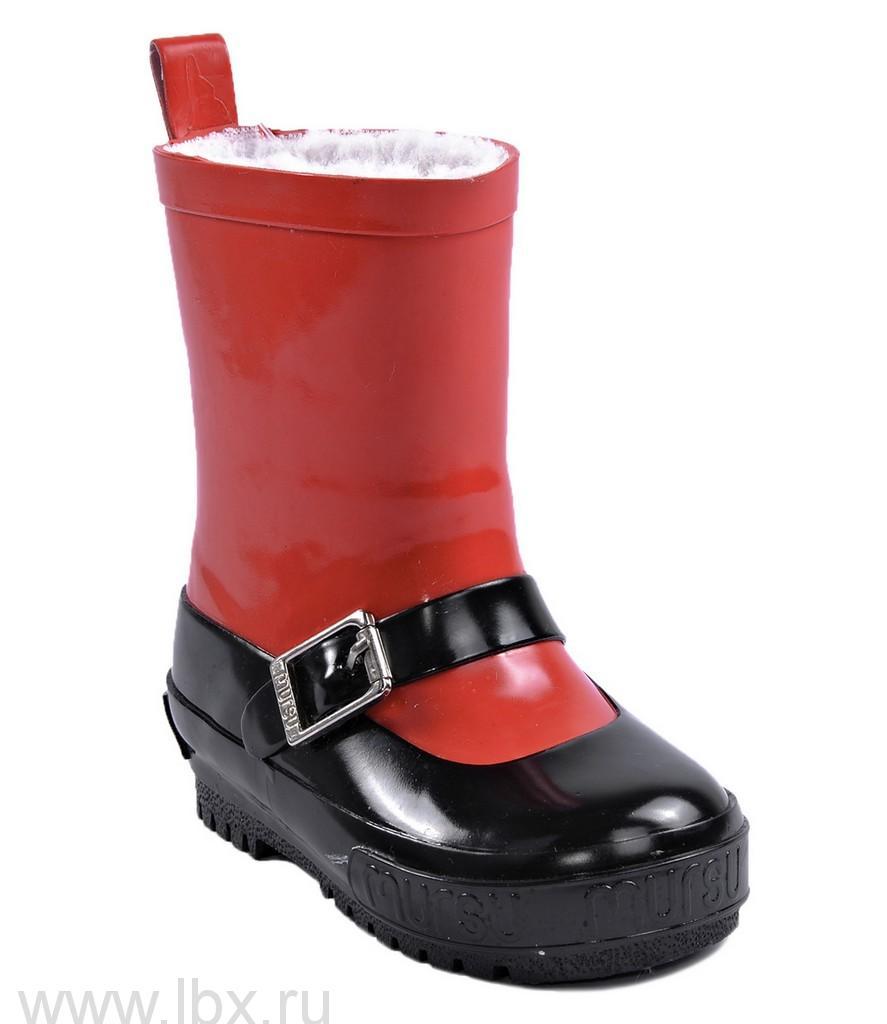 Сапожки резиновые `Туфельки` искусственный мех, Mursu (Мурсу) красно/черные- увеличить фото