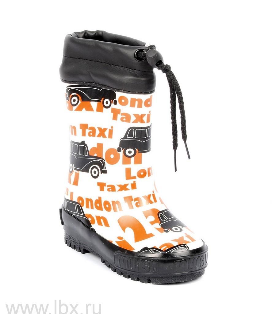 Сапожки резиновые `Такси` искусственный мех, Mursu (Мурсу) черно/оранжевые- увеличить фото