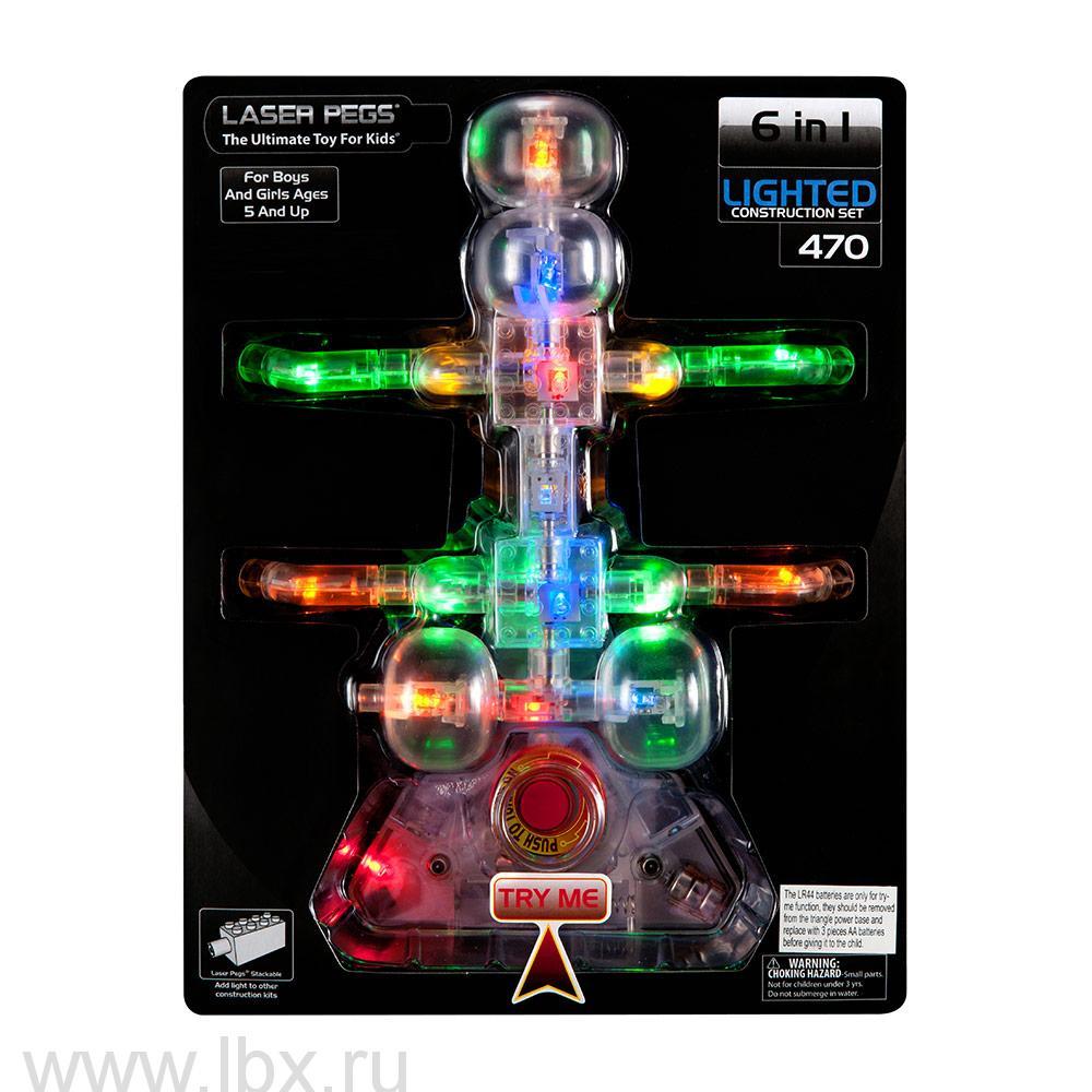 Набор 6 в 1. Жук с кнопкой на упаковке Laser Pegs (Лазер Пегс)