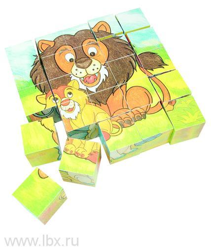 Паззл из кубиков `Животные`, Bino (Бино)