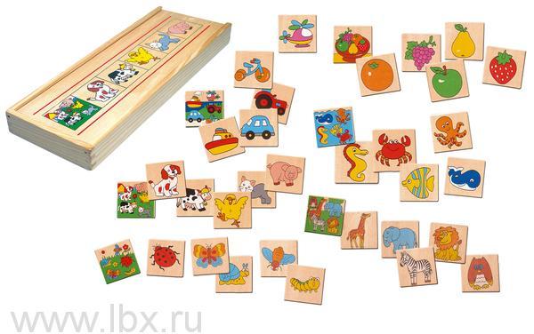 Игра `Что к чему относится` в деревянной коробке, Bino (Бино)