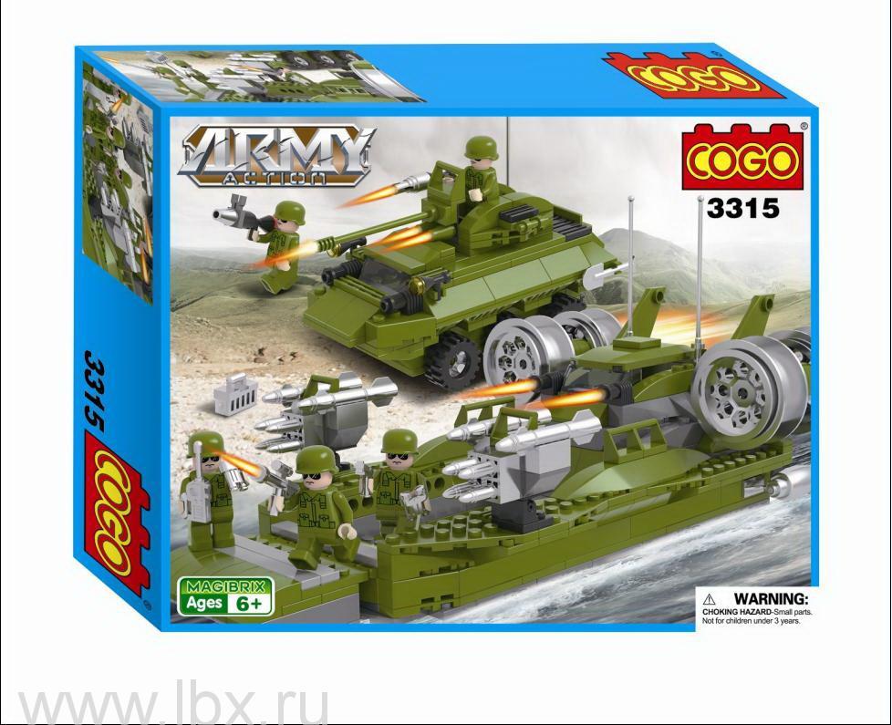 Конструктор `Армия. Десантный корабль и автомобиль`, Cogo