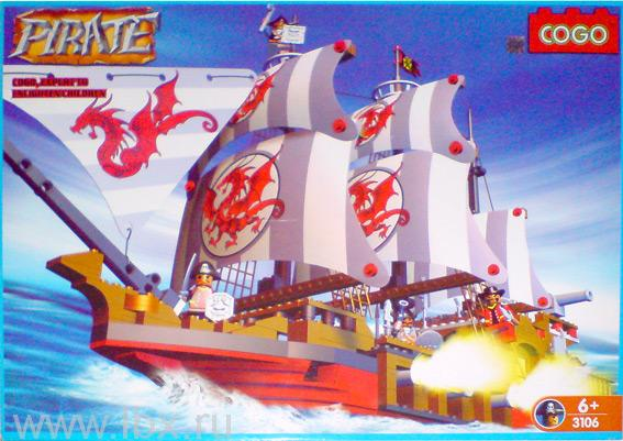 Конструктор `Пираты. Пиратский корабль Дракон`, Cogo