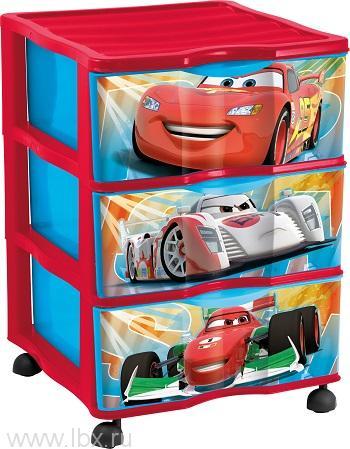 Детский пластиковый комод на колесиках Disney Cars(Тачки) для хранения предметов с 3 выдвижнымиLego (Лего)