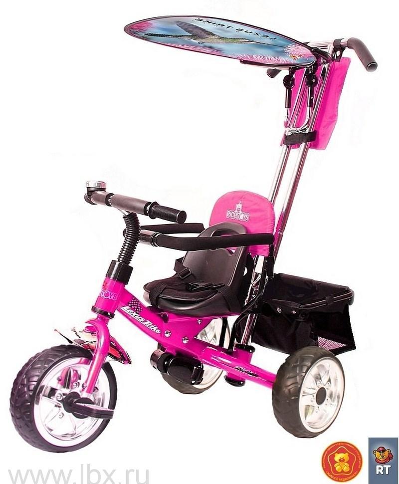 Детский трехколесный велосипед Lexus Trike Original Next (Лексус Трайк), розовый с ручкой