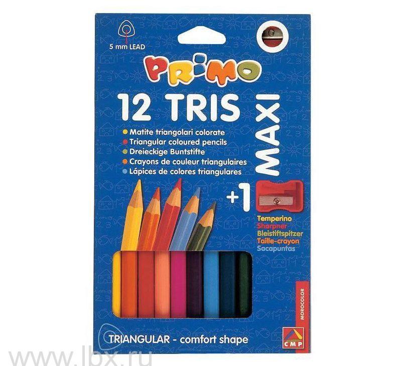Цветные карандаши деревянные треугольные макси , Morocolor Primo (Примо)