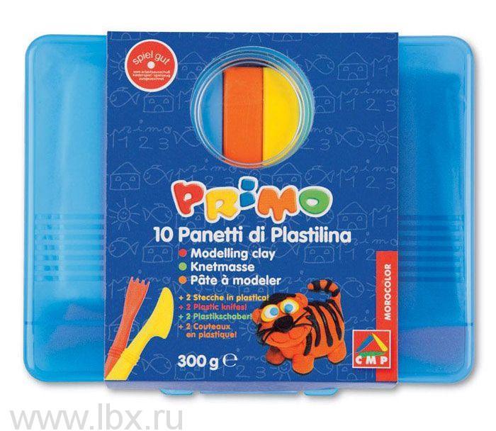Пластилин 10 цветов х 30гр в пластиковой коробке, Morocolor Primo (Примо)