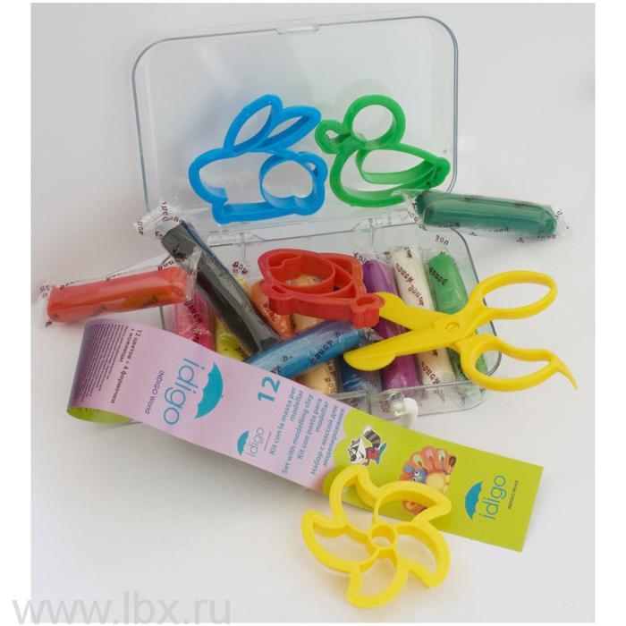 Набор для лепки мягкая масса с инструментами в пластмассовом чемодане ( масса 12 цветов 240 грамм, 4 формочки, ножницы)