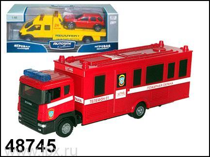 Модель пожарного автомобиля `Scania Command Unit` 1:48, Autotime
