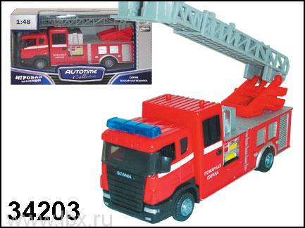 Модель автомобиль `Scania` пожарный с лестницей 1:48, Autotime