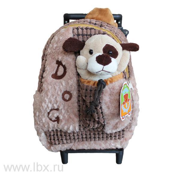Рюкзак мягкий и игрушка `Собачка`, Звери в портфеле