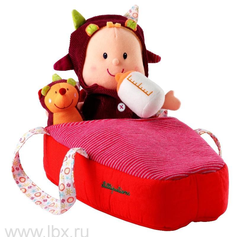 Мягкая куколка в переноске с ежиком, Lilliputiens (Лилипутенс)