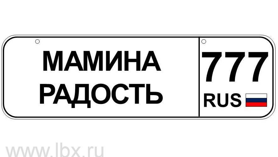 Номер для детского транспорта `Мамина радость` регион Москва, Baby nomer (Бэби номер)