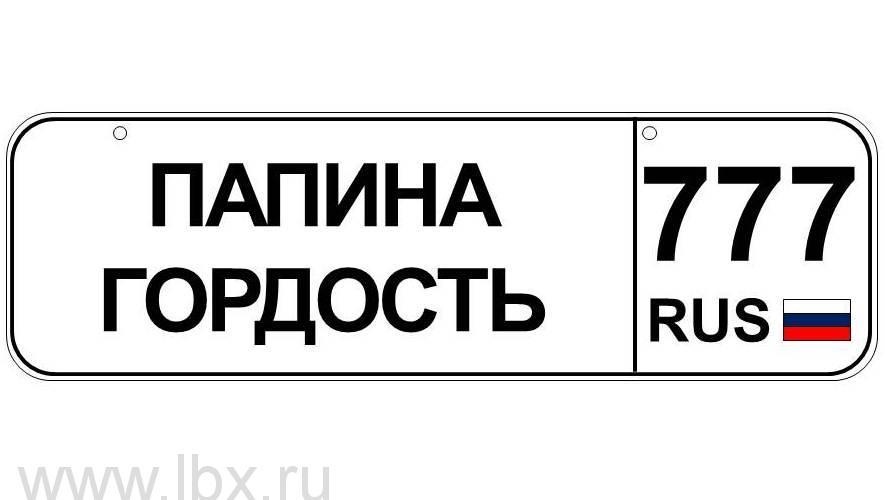 Номер для детского транспорта `Папина гордость` регион Москва, Baby nomer (Бэби номер)