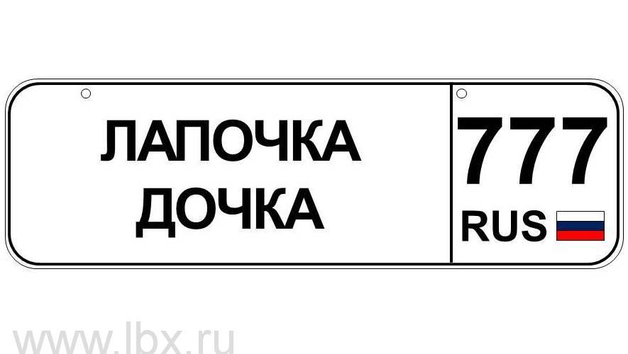 Номер для детского транспорта `Лапочка-дочка` регион Москва, Baby nomer (Бэби номер)