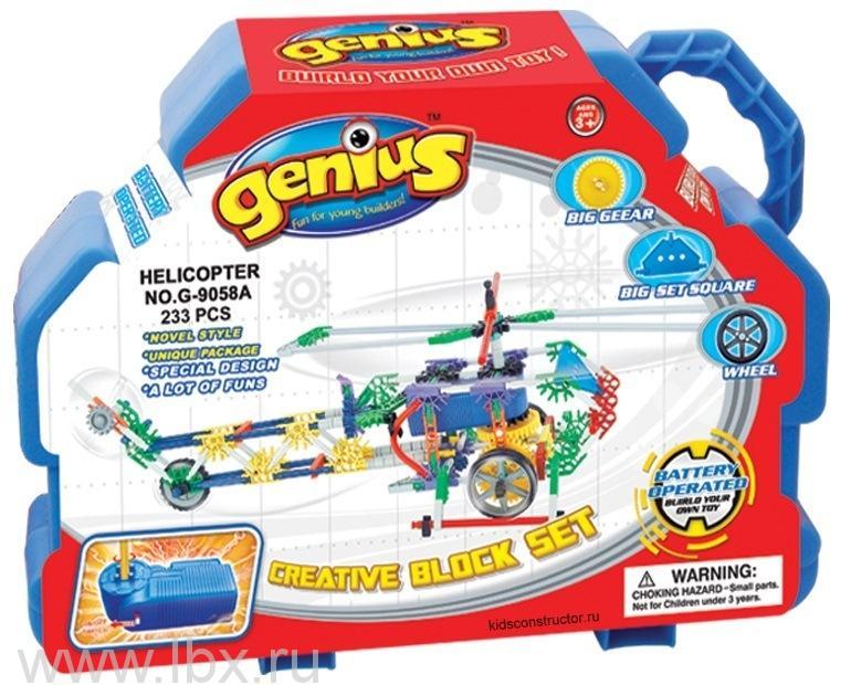Конструктор с мотором `Вертолет` 223 детали, Genius (Гениус)