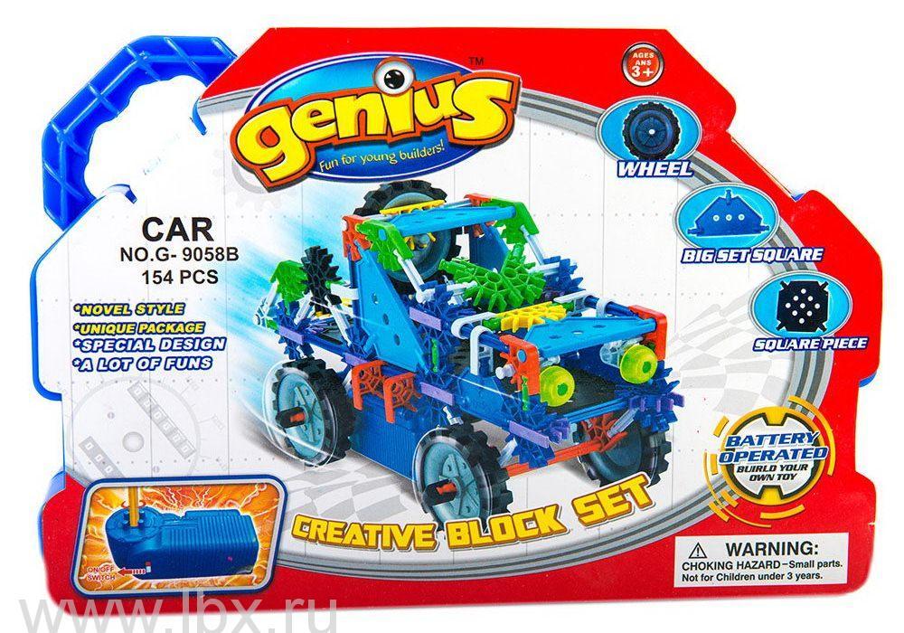 Конструктор с мотором `Машинка` 154 детали, Genius (Гениус)