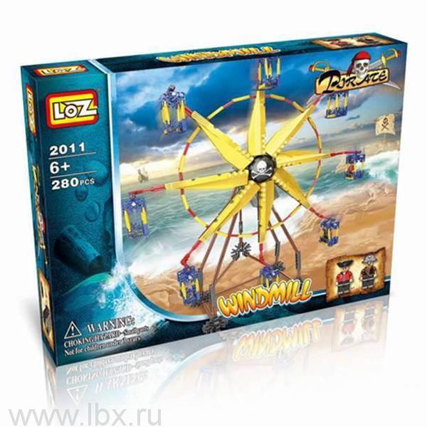 Конструктор с мотором `Ветряная мельница` 280 деталей, Loz (Лоз)